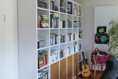 Bücherwand weiß + Eiche
