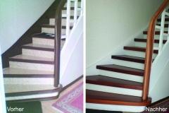 Alte Treppe belegt mit angefertigten Parkettstufen aus Merban - Vergleich vorher - nachher