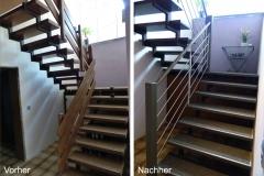 Stufen mit Filzbelag + Geländer in Edelstahlstabfüllung + Handlauf Eiche grau gebeizt rund - Vergleich vorher - nachher