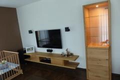 TV-Möbel mit Vitrine aus Eiche